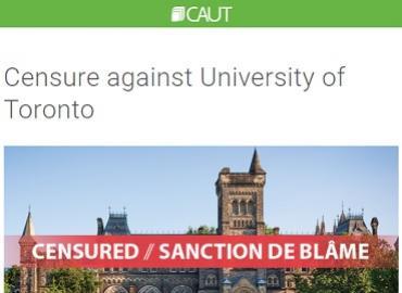 CAUT censure of U of T